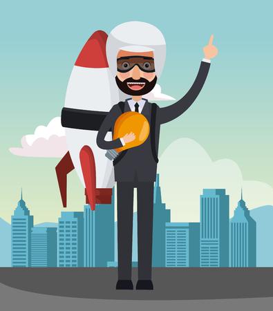 Businessman with jetpack at city vector illustration graphic design Illustration