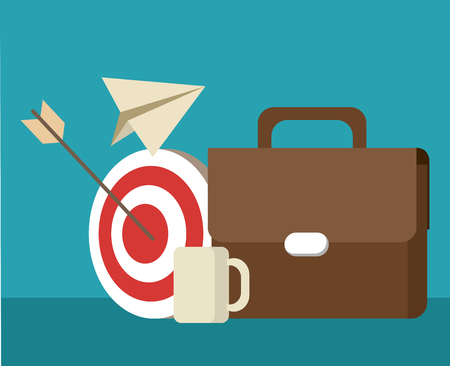 Briefcase with taget and coffee cup vector illustration graphic design Illustration