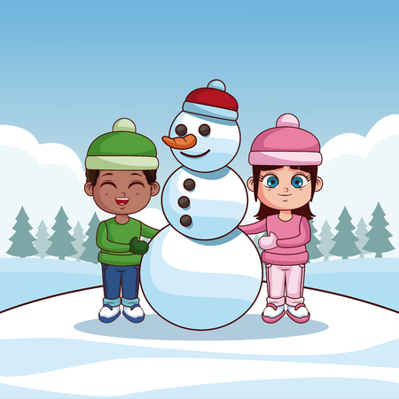 Cute kids with snowman winter cartoons vector illustration graphic design