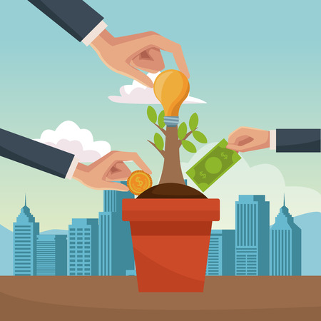 Hands grabbing coins from money plant vector illustration graphic design