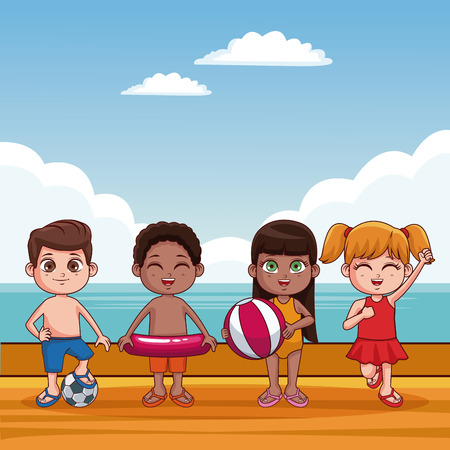 Cute kids in swimsuit at beach cartoons vector illustration graphic design