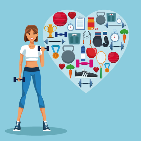 Fitness woman with sport heart shaped symbols vector illustration graphic design