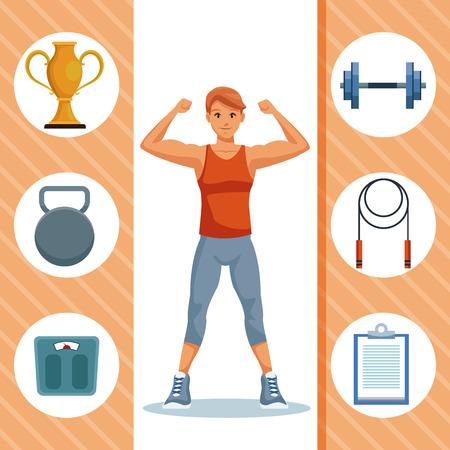 Fitness man with sport round symbols vector illustration graphic design Vettoriali
