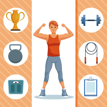 Fitness man with sport round symbols vector illustration graphic design Illustration