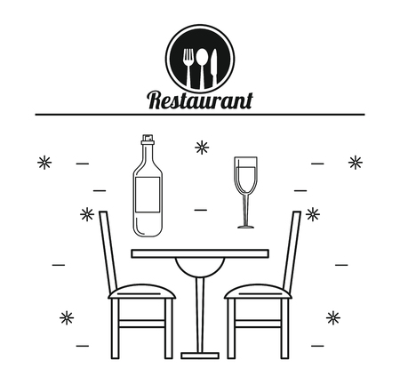 Table and chairs Restaurant and food concept vector illustration graphic design