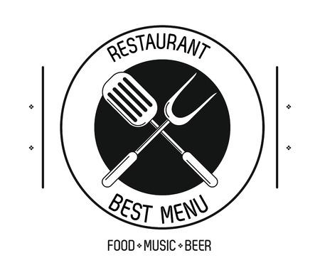 Restaurant food music and beer emblem concept vector illustration graphic design