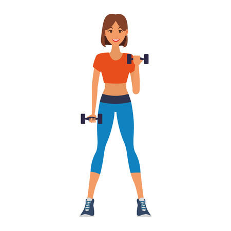 Fitness woman with dumbbells cartoon vector illustration graphic design