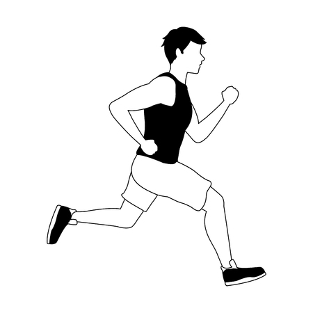 Fitness man running vector illustration graphic design