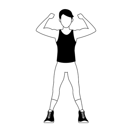 Fitness man flexing arms vector illustration graphic design Illusztráció