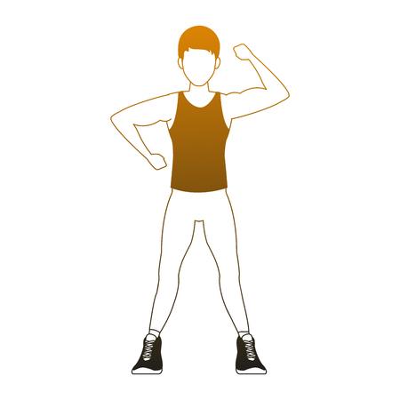 Fitness man flexing arms vector illustration graphic design  イラスト・ベクター素材