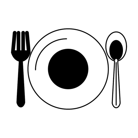 Dish with cutlery vector illustration graphic design Иллюстрация