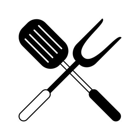 Turner and bbq fork vector illustration graphic design Illustration