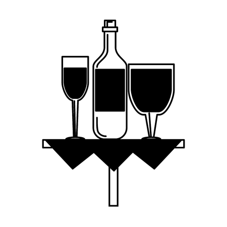 Wine bottle and cups on table vector illustration graphic design