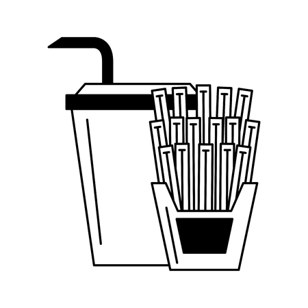 Soda and french fries vector illustration graphic design Illustration