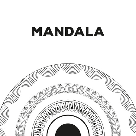 Mandalas black and white emblem vector illustration graphic design