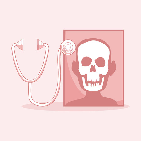 Xray head with stethoscope vector illustration graphic design
