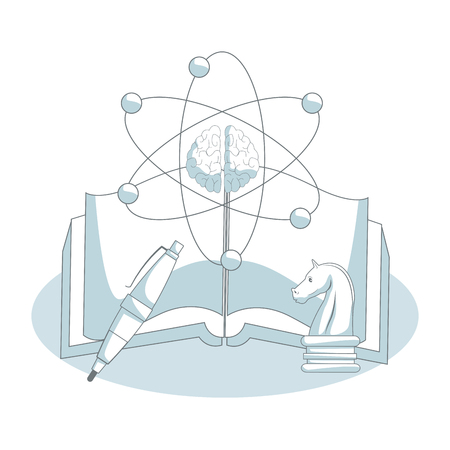 Book open with atom symbol and pen vector illustration graphic design Illustration