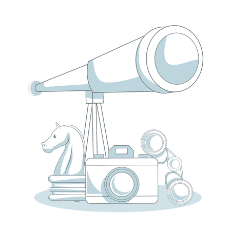 Telescope and chess piece with camera vector illustration graphic design Illustration