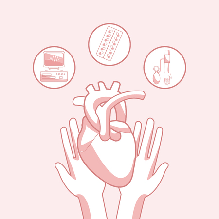 Hands with heart and medicine pills vector illustration graphic design