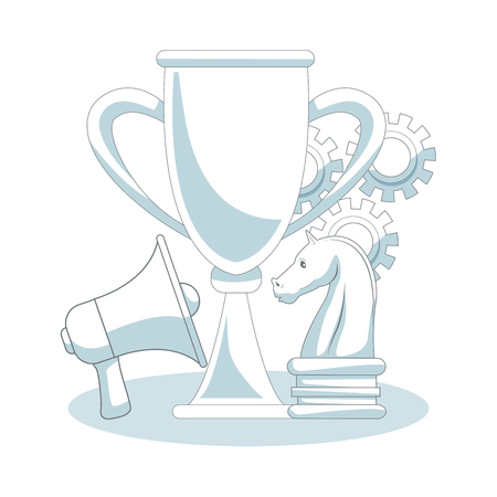 Chess trophy cup with bullhorn vector illustration graphic design Illustration