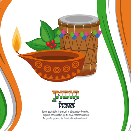 India travel card with different elements vector illustration graphic design
