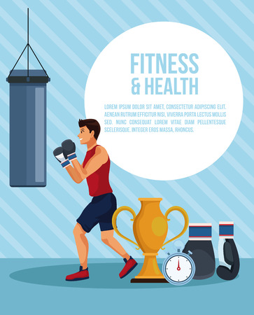 Fitness and health man infographic vector illustration graphic design Illustration