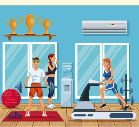 Fitness people training inside gym vector illustration graphic design Illustration