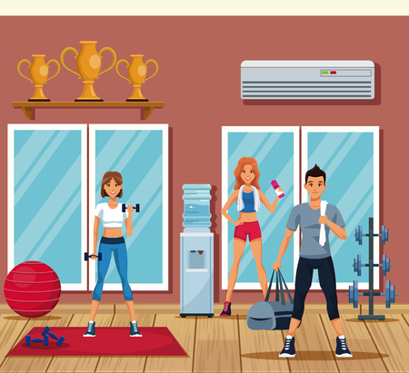 Fitness people training inside gym vector illustration graphic design Stock Illustratie