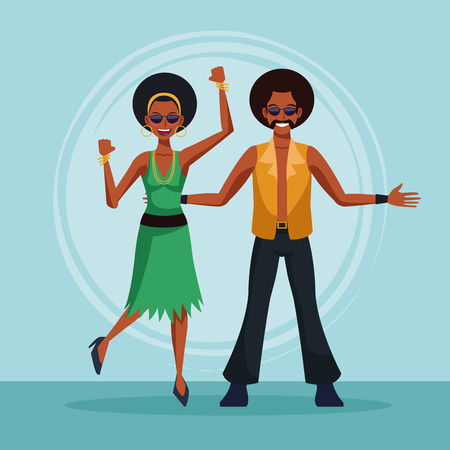 Cute couple dancing at disco vector illustration graphic design