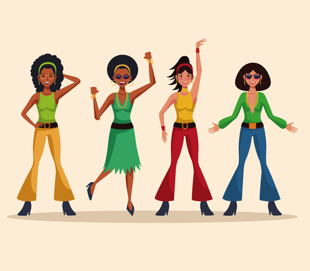 Dance party disco people cartoons vector illustration graphic design