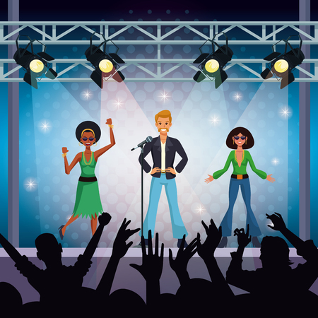Music concert stage wit music group and fans vector illustration graphic design