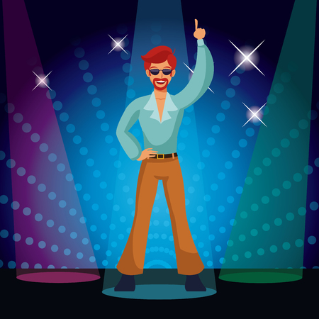 Man dancing at 80s disco with lights vector illustration graphic design