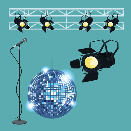 Disco interior stage scenery vector illustration graphic design