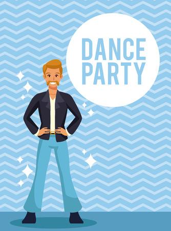 Man dance party cartoon over striped background vector illustration graphic design Ilustração
