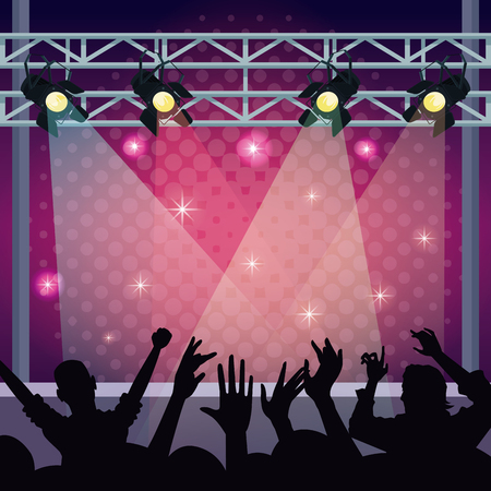 music concert stage with fans silhouettes vector illustration graphic design