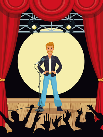Music artist in stage with fans silhouettes vector illustration graphic design