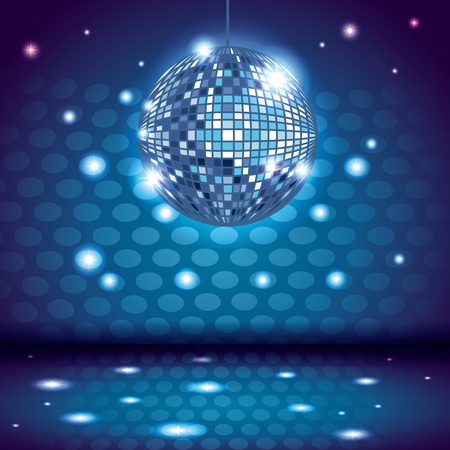 80s disco interior scenery with ball and lights vector illustration graphic design