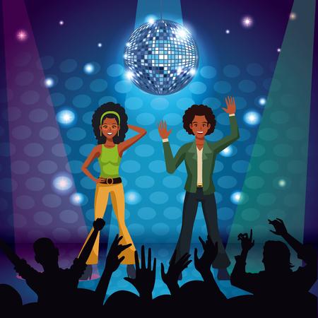 Couple of disco dancers at stage vector illustration graphic design Ilustração