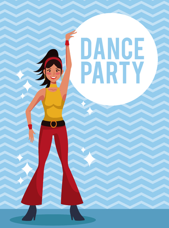 Woman dance party card over striped background vector illustration graphic design