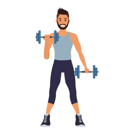 Hombre de fitness levantando pesas ilustración vectorial diseño gráfico