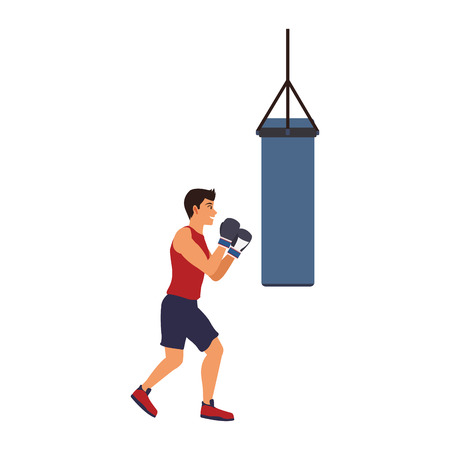 Fitness man practicing boxing vector illustration graphic design