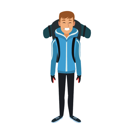 Alpinist man cartoon vector illustration graphic design
