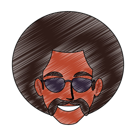 Disco man face cartoon