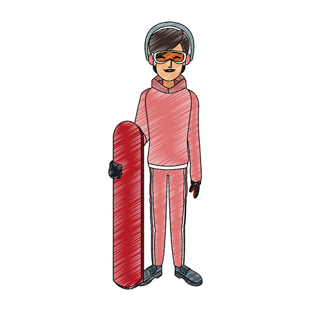 Woman with snowboard Illustration