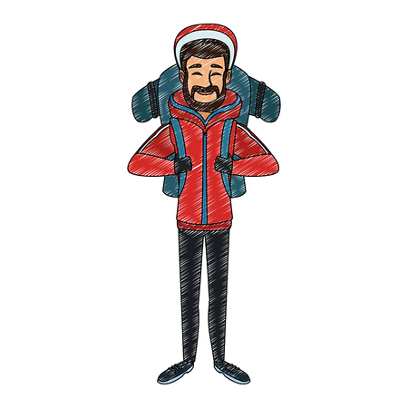 Alpinist man cartoon Illustration