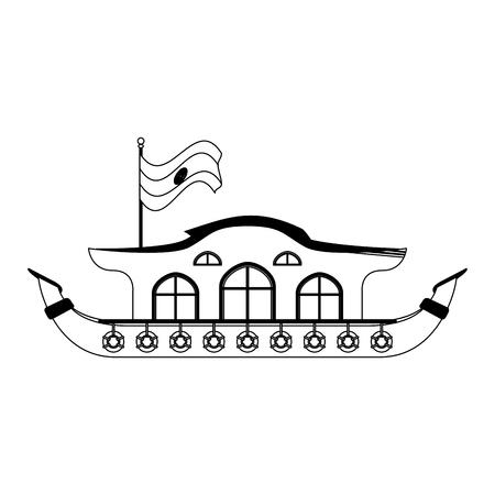 Kerala houseboat isolated vector illustration graphic design Stock Illustratie