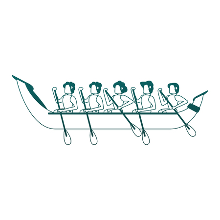 People rowing on boat vector illustration graphic design