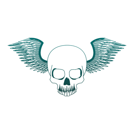 Tatto skull drawing with wings vector illustration graphic design