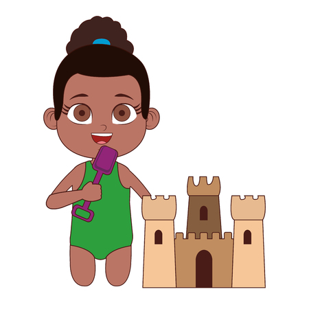 Beautiful girl in swim suit with sand castle vector illustration graphic design