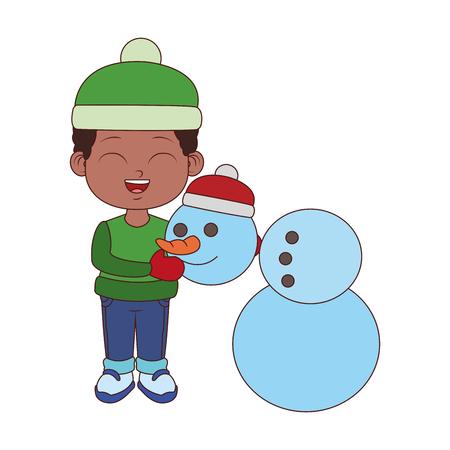Cute boy with snowman cartoon vector illustration graphic design Illustration